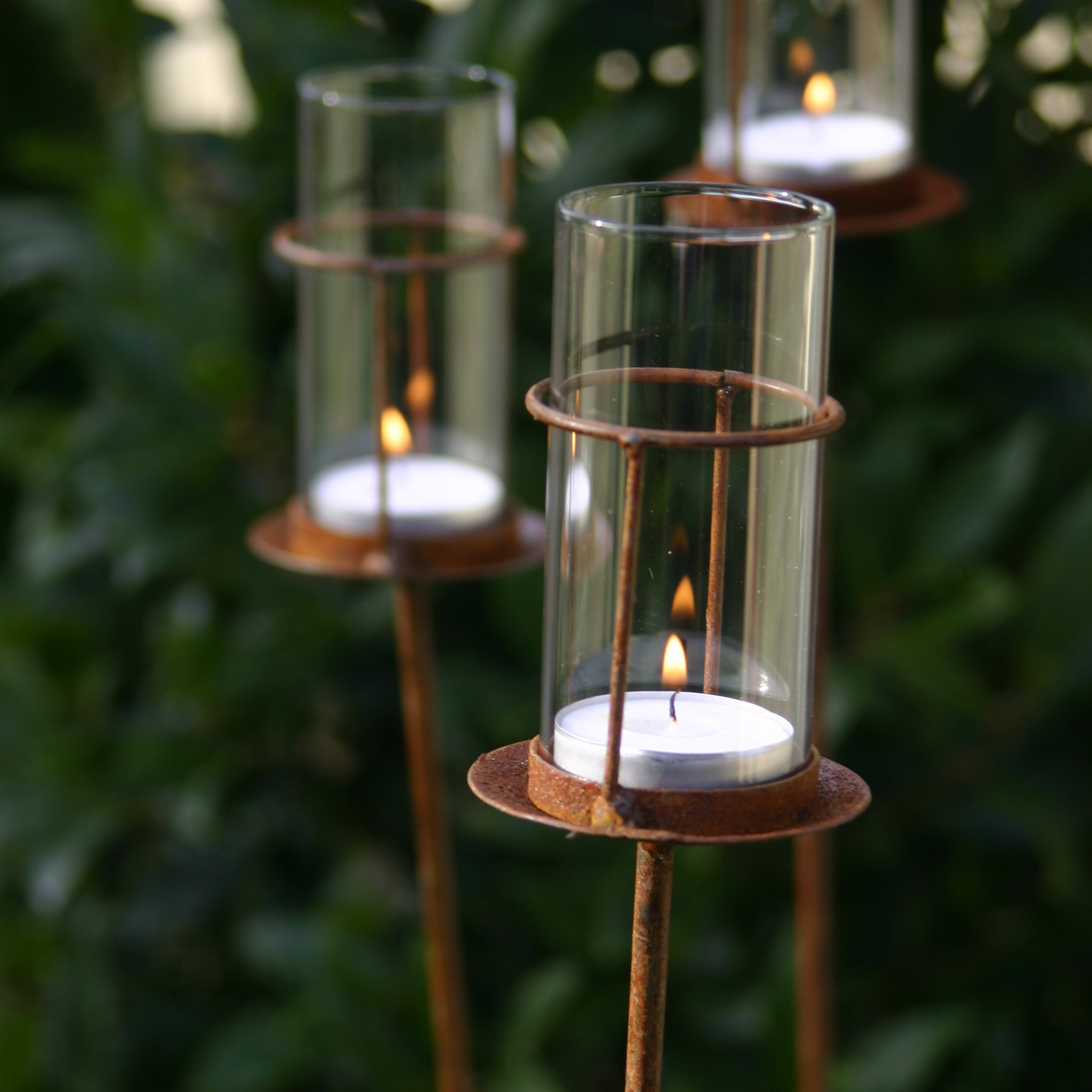 Set Of Three Tea Light Stakes