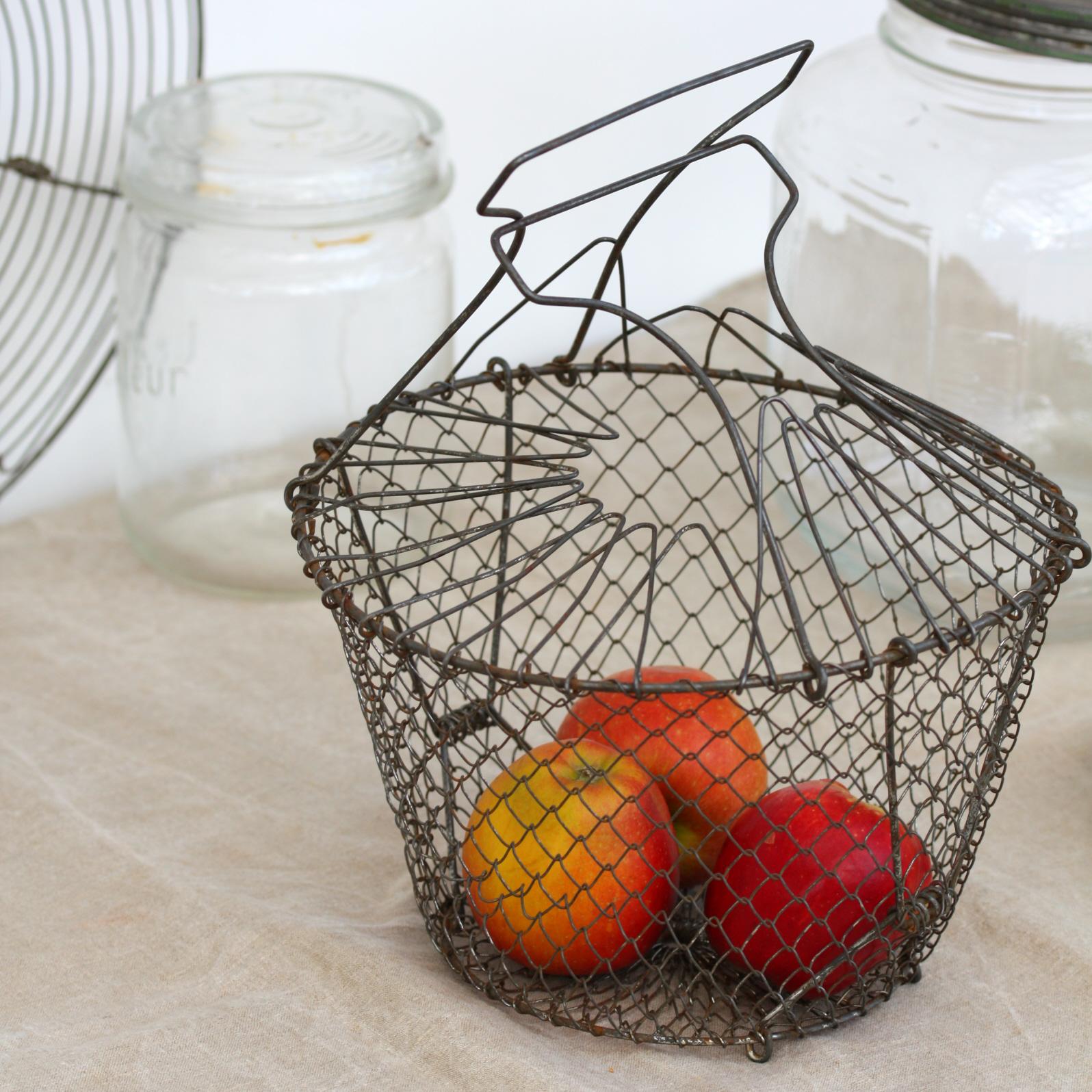 vintage french folding wire basket dee puddy. Black Bedroom Furniture Sets. Home Design Ideas